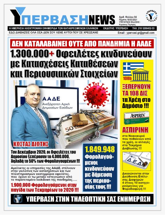 ΥΠΕΡΒΑΣΗ NEWS 18/03/2021 | Ξαφνικός Θάνατος στην Οικονομία: Έρχονται Κατασχέσεις Καταθέσεων σε 1.300.000 Οφειλέτες από την Εφορία εν μέσω Πανδημίας !!!